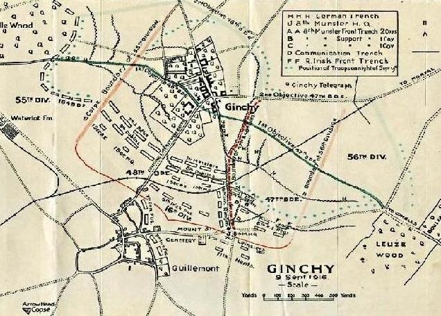 Map Of Ireland 1916.9 9 1916 The Somme Irish Troops Capture Ginchy World War 1 Live
