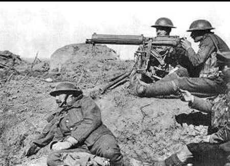 Machine gun firing, British